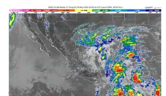 Se prevén lluvias torrenciales y granizadas en Chiapas y Oaxaca, debido a una zona de baja presión con potencial ciclónico