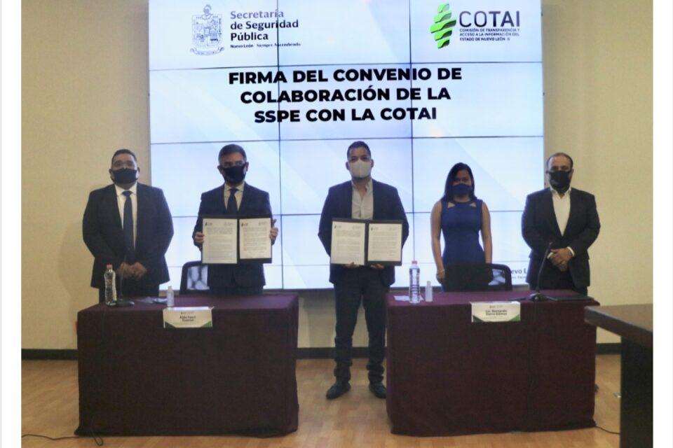 Suscriben COTAI convenio de colaboración con Secretaría de Seguridad Pública del Estado