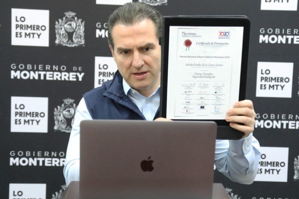 Recibe Monterrey Premio Nacional al Buen Gobierno Municipal en Seguridad Inteligente
