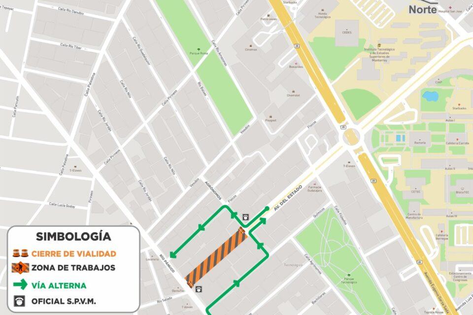 Anuncian cierre vial en un tramo de avenida Del Estado por obras