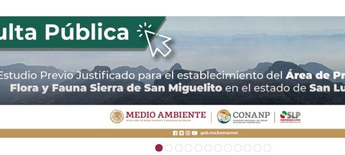 Informa Semarnat avances de la consulta pública del proyecto ANP Sierra de San Miguelito, en SLP