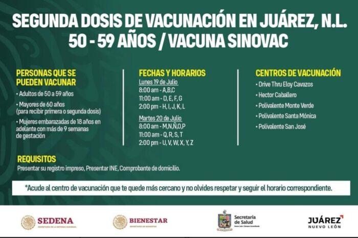 ANUNCIA JUÁREZ FECHA PARA APLICACIÓN DE LA SEGUNDA DOSIS CONTRA EL COVID-19 DE 50 A 59 AÑOS